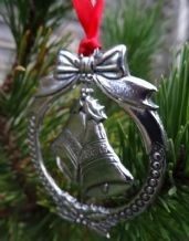 Pewter Spinning Christmas Bells Hanging Decoration